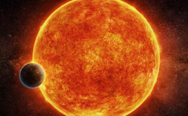 Ilustração artística do planeta LHS 1140b e sua estrela - M Weiss - CfA