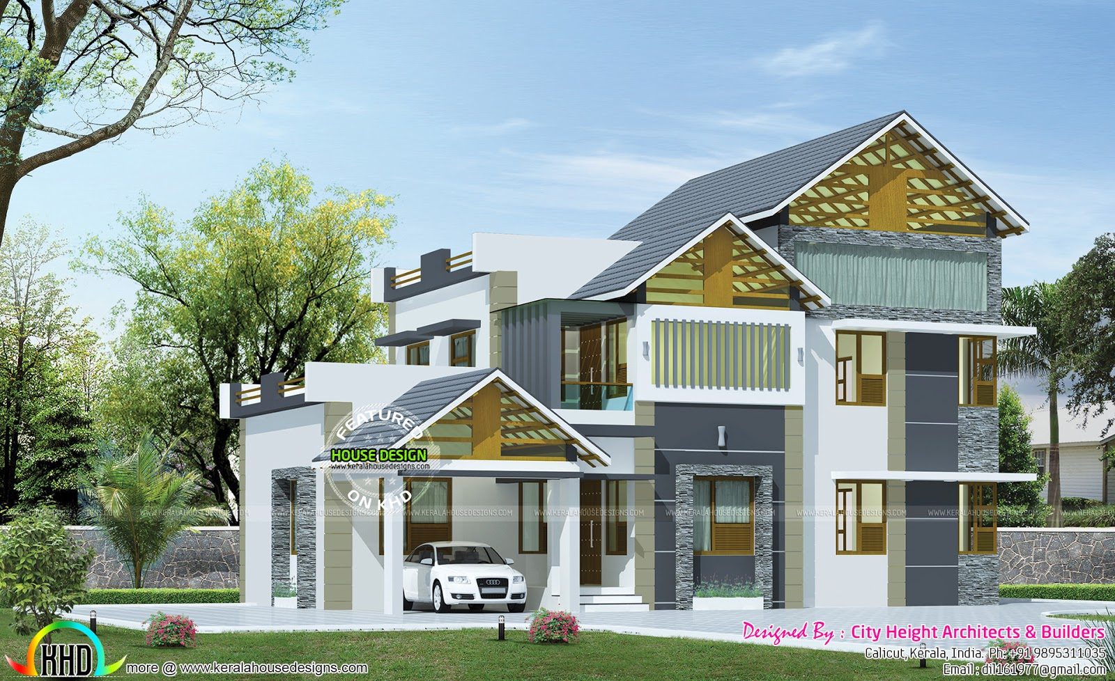 2216 Sq Ft Contemporary Sloping Roof Kerala Home Design