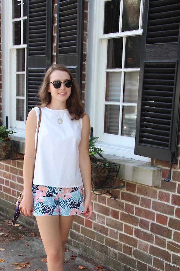 Gimme Glamour: King Street Classics. Brooks Brothers white top, floral shorts, monogram necklace, Ray Ban Clubmasters, Tory Burch purse with tie scarf.