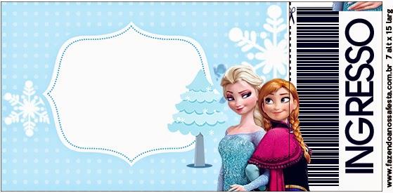 Tarjeta con forma de Ticket de Frozen en Navidad Azul.