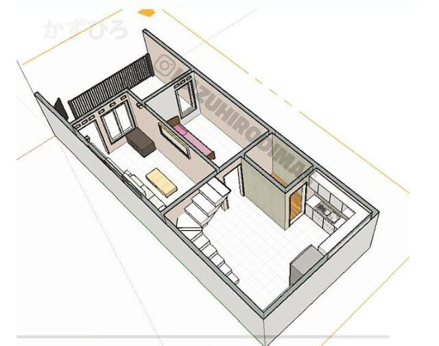 Denah Lengkap Rumah 5x12 tata ruang lega