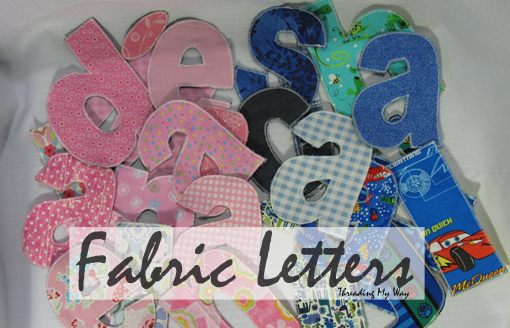 how to cover cardboard letters with fabric - threading my way fabric letters