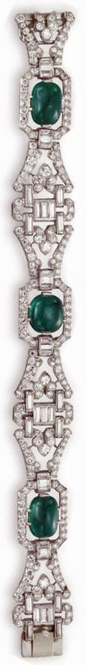 An Art Deco diamond and emerald bracelet by J.E. Caldwell, circa 1930. Via Diamonds in the Library.