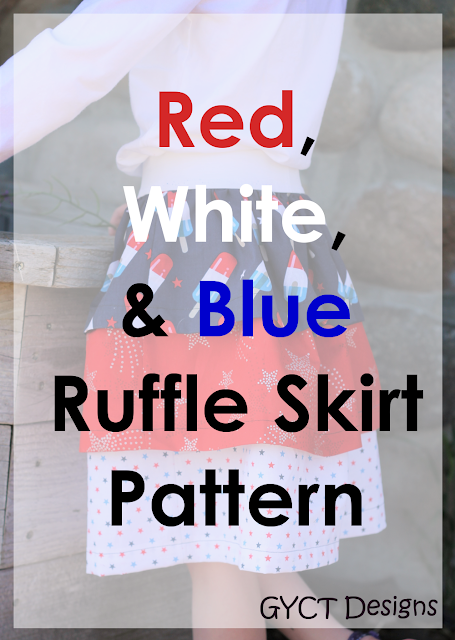 Super fast Red, White and Blue Ruffled Skirt Pattern and Tutorial