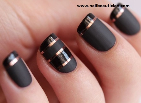 black stripe nails