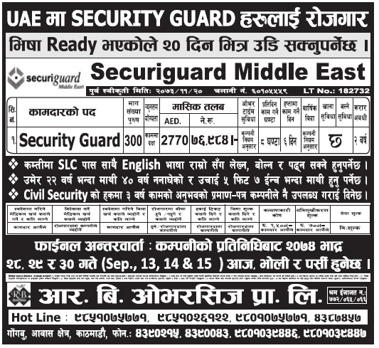 Jobs in UAE for Nepali, Salary Rs 76,984