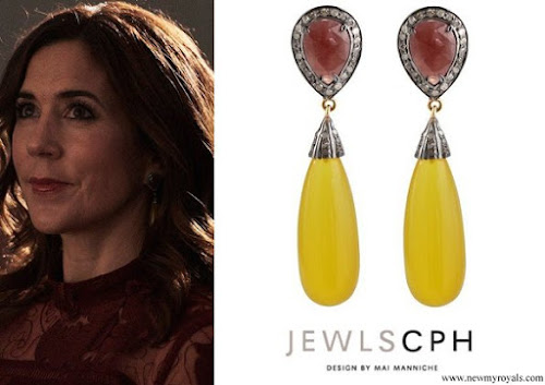 Crown Princess Mary wore JEWLSCPH MARILYN Unique diamond earrings with ruby and yellow agate gemstone
