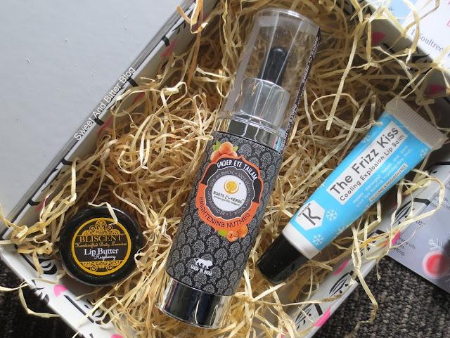 Bliscent Raspberry Lip Butter, Roots & Herbs Under Eye Tailam Brightening Nutmeg,  Kronokare The Frizz Kiss Lip Balm