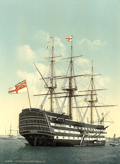 Victory, flagship of the victorious British fleet commanded by Admiral Horatio Nelson in the Battle of Trafalgar on Oct. 21, 1805. The ship is preserved today as a historic relic at Portsmouth, Eng. Laser Kiwi. marchmatron.com