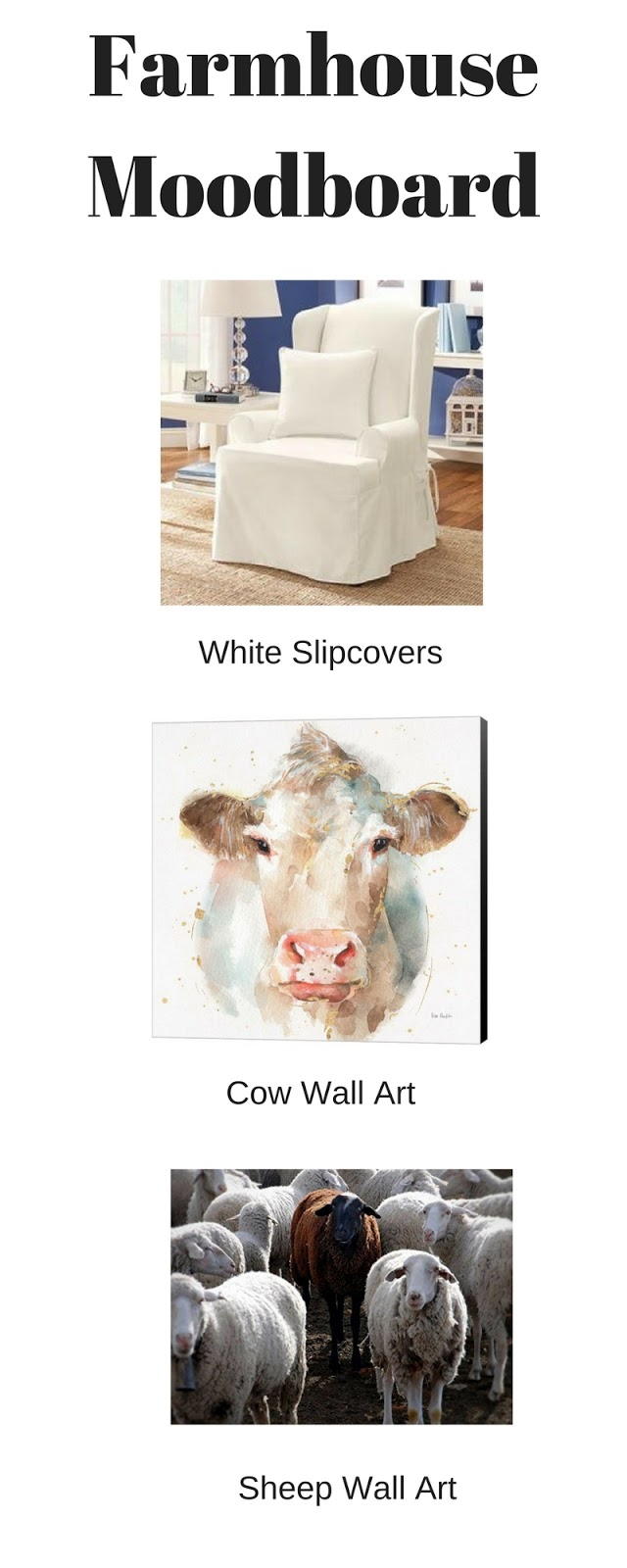 farmhouse decor slipcover cow art sheep art