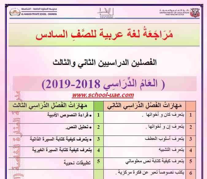 مراجعة لغة عربية الصف السادس فصل ثالث - مناهج الامارات