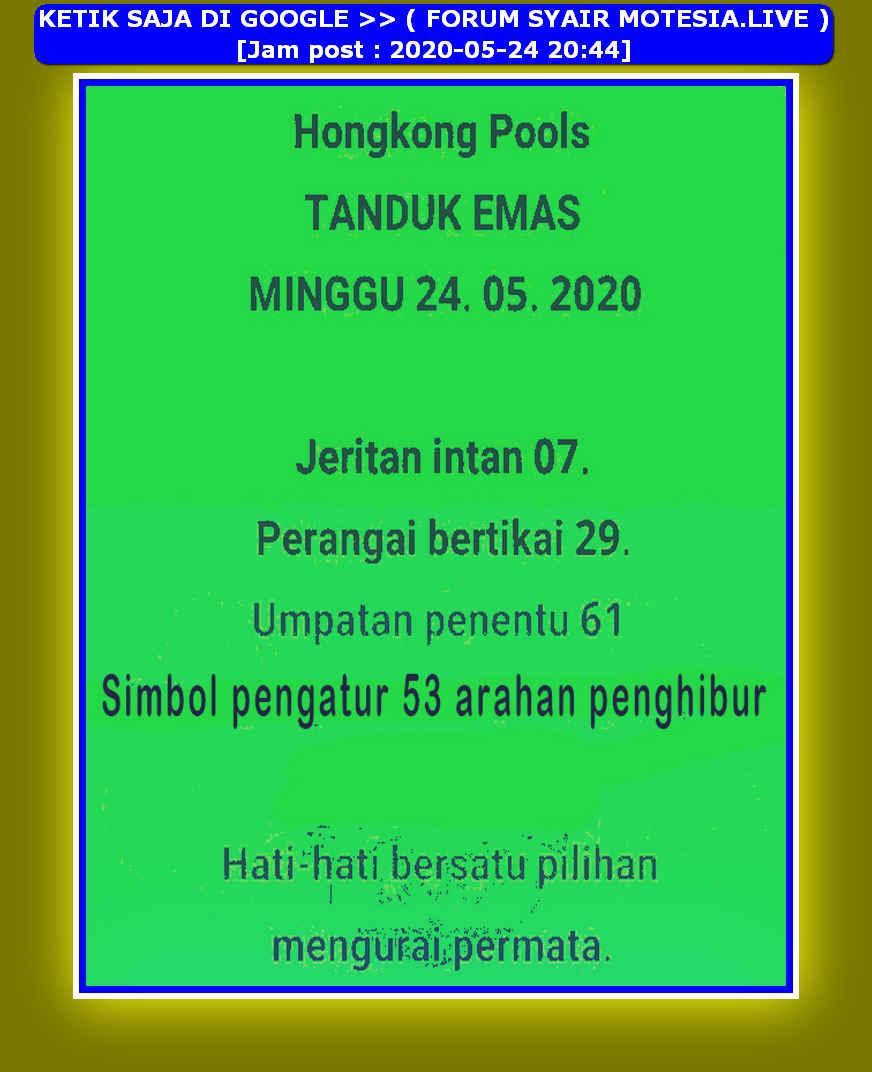 Kode syair Hongkong Minggu 24 Mei 2020 18