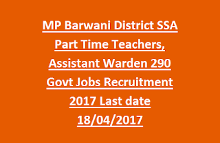 MP Barwani District SSA Part Time Teachers, Assistant Warden 290 Govt Jobs Recruitment 2017 Last date 18-04-2017