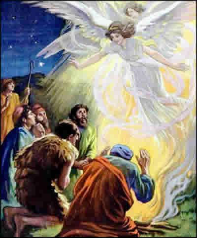 Resultado de imagen de anuncio a los pastores del nacimiento de Jesús