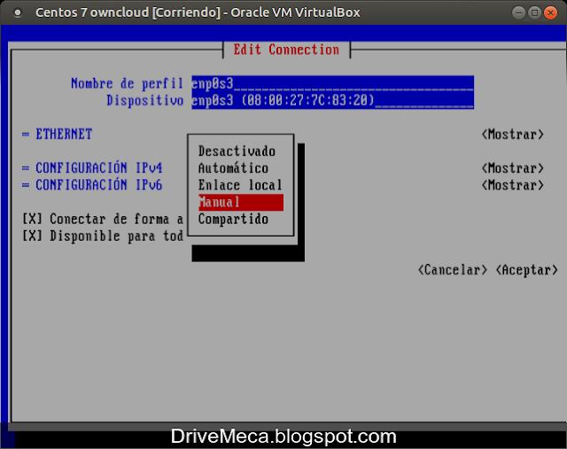 Cambiamos en IPv4 de automatico a manual