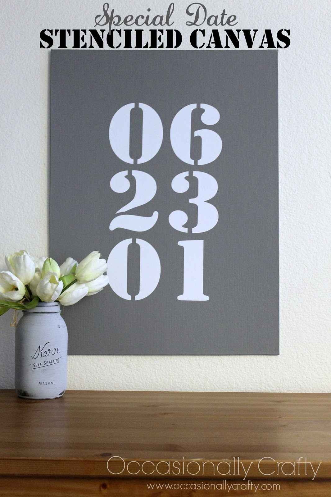 Special Date Stenciled Wall Canvas Occasionally Crafty Special