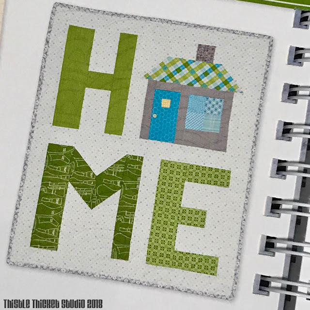 "Spelling Bee ""Home"" Mini Quilt on Thistle Thicket Studio. www.thistlethicketstudio.com"