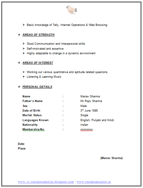 Bpo Job Resume Format sample resume format for freshers call – Resume Format Download