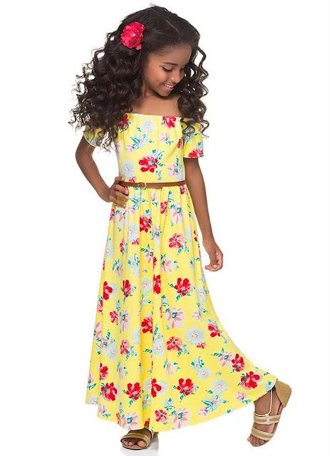Vestido Longo Infantil Amarelo Malwee Kids