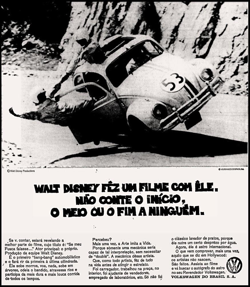 Herbie movie, Disney, propaganda anos 70, história década de 70, reclame anos 70; Oswaldo Hernandez,
