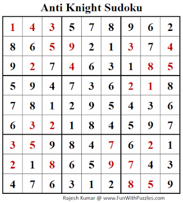 Answer of Anti Knight Sudoku Puzzle (Fun With Sudoku #265)