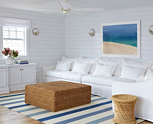Crisp White Small Coastal Nautical Cottage Living Room Interior Design Ideas