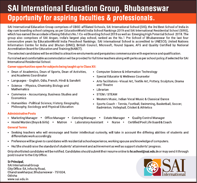 Sai International Bhubaneswar Biology Faculty Openings