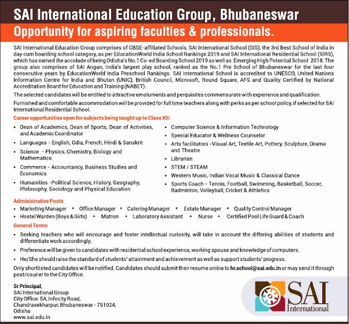 Sai International Bhubaneswar Biology Faculty Openings