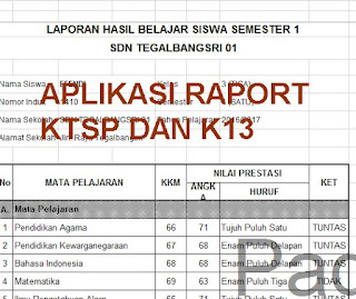 Aplikasi Raport KTSP dan K13 2016