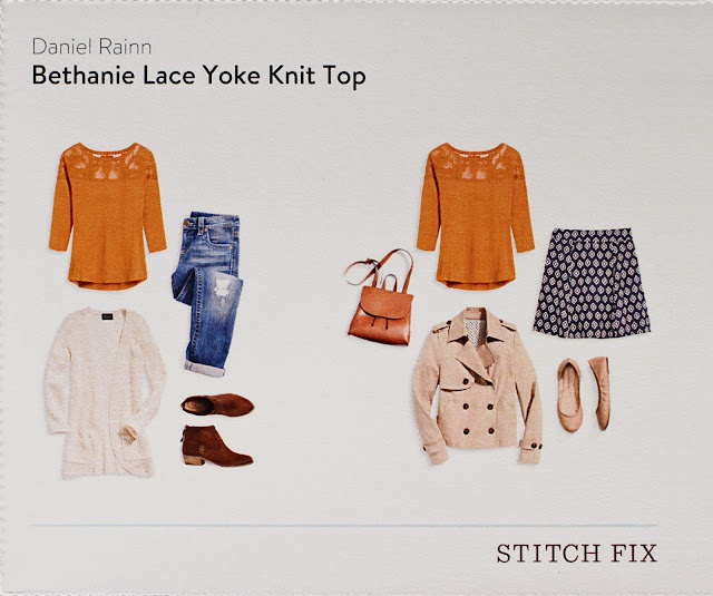 Stitch Fix Daniel Rainn Bethanie Lace Yoke Knit Top style card
