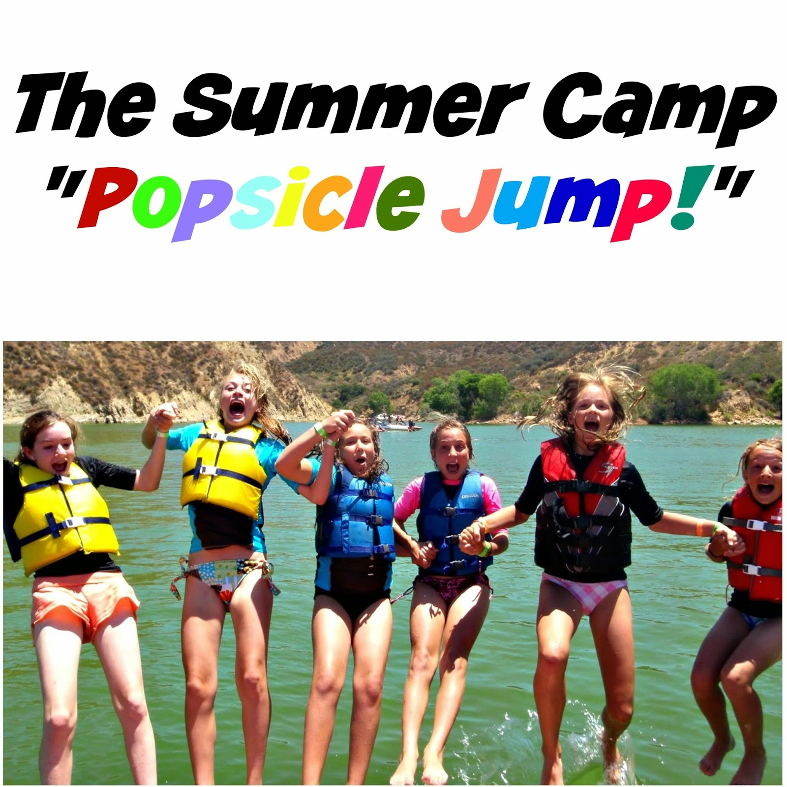 Teenage girls jumping together off the back of a boat playing the Popsicle Jump game at Aloha Beach Camp summer camp.