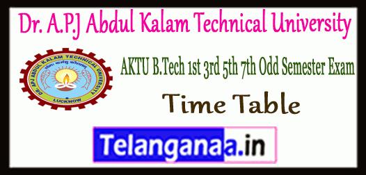AKTU Dr. A.P.J Abdul Kalam Technical University 1st-3rd-5th-7th Semester Main Back Exam Time Table