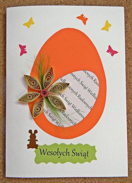 kartka, wielkanocna, zajączek, jajo, motyle