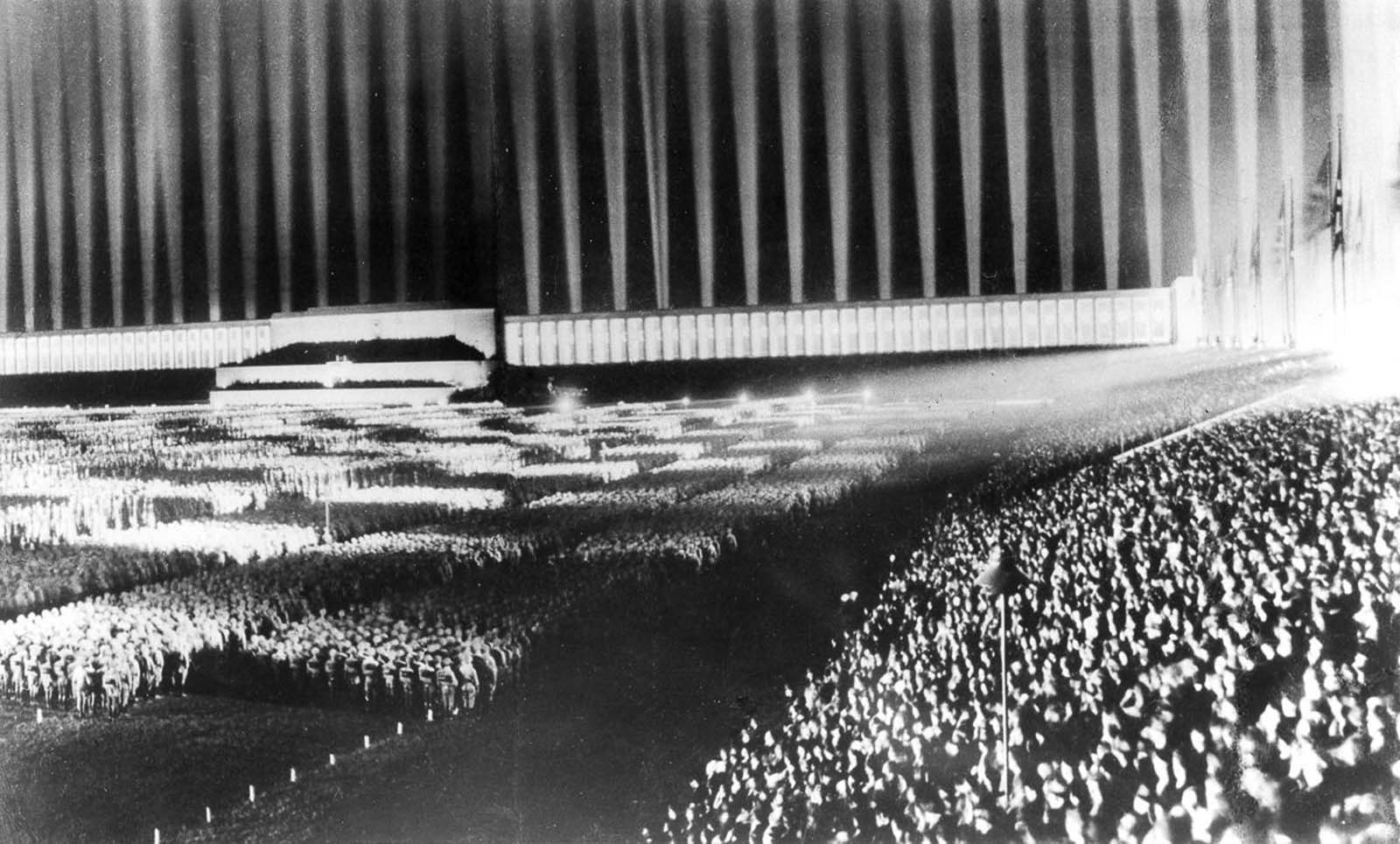 """...the single most dramatic moment of the Nazi Party rallies... was not a military parade or a political speech but the Lichtdom, or Cathedral of Light..."" — Kathleen James-Chakraborty. 1936."