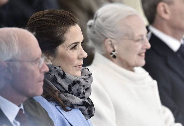 Crown Princess Mary wore Strenesse long cut coat in Loro Piana virgin wool, and Oscar de le Ranta pearl-embellished sweater