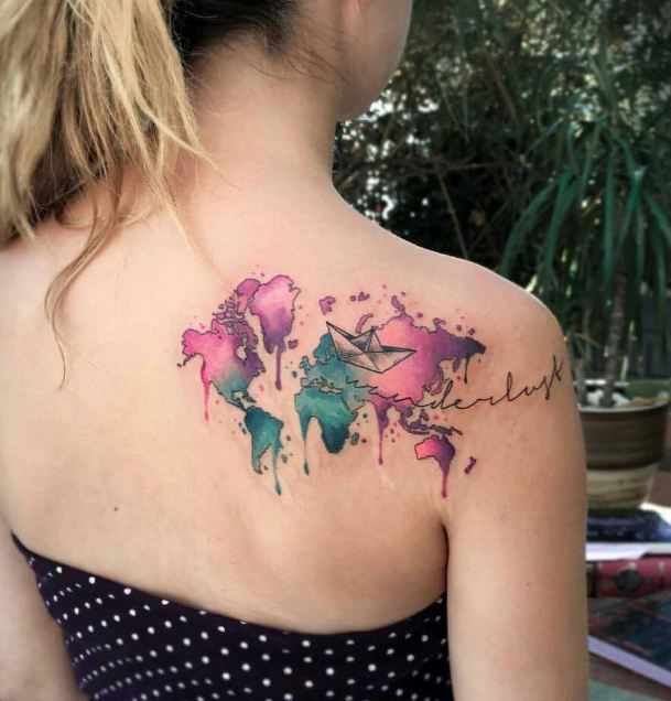Watercolor world map tattoo