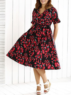 V Neck Plus Size Floral Midi Dress