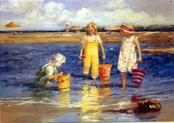 Cuadro infantil. Niños en la playa jugando con arena