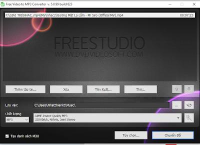 Phần mềm đổi đuôi video sang .mp3 siêu tốc miễn phí