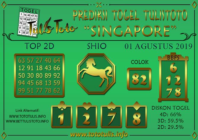 Prediksi Togel SINGAPORE TULISTOTO 01 AGUSTUS 2019