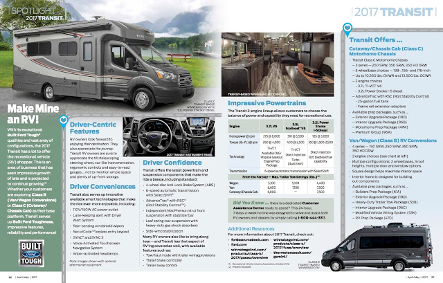 Ford Frontline Magazine Transit RV article ©Ford Motor Company