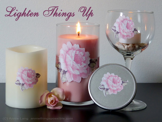 Use Annie Lang's Ideas and Free Pattern to make decorative candles with vinyl cutouts