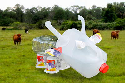Moo! - Cow sculpture made from recycled dairy containers by Kim W. Nolan