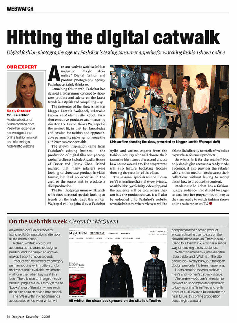 Drapers - December 2009 - Hitting The Digital Catwalk