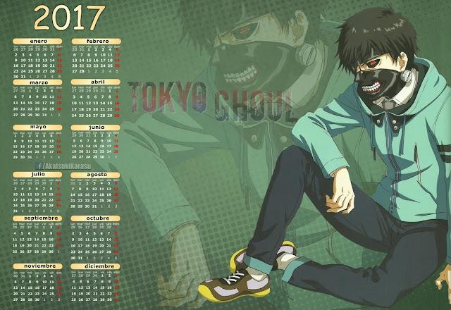 calendario 2017 anime tokyo ghoul