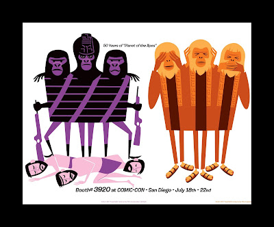 San Diego Comic-Con 2018 Exclusive Planet of the Apes 50th Anniversary Prints by SHAG