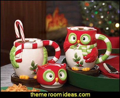 Holiday Hoot Ceramic Owl Christmas Mug