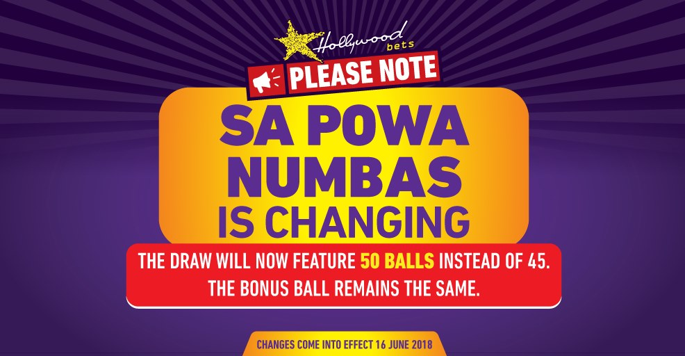SA Powa Numbas - Changing to 50 Balls - Lucky Numbers - Hollywoodbets
