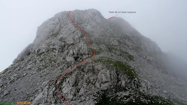 Camino señalizado de lo que nos queda por delante hasta la Torre de la Canal Vaquera