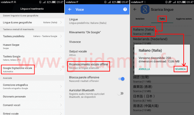 Android attivare digitazione vocale offline